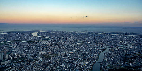 A 33-minute helicopter cruise from Yokohama at sunset to Tokyo at night