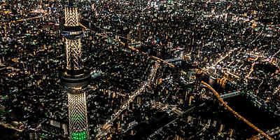 乘搭直升機欣賞橫濱~東京市中心夜景,45分鐘的高級空中航程。