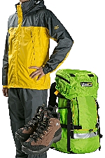 Mt. Fuji climbing support, 3 mountaineering item rental set (Rain gear, hiking boots, hiking bags, hiking boots)