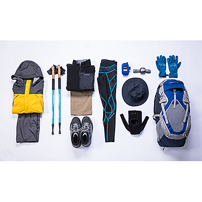 Mt. Fuji climbing support, 6 mountaineering item rental set (Rain gear, hiking boots, hiking bags, hiking boots, stock, headlights and short spats, Warm clothes (fleece), trekking pants, compression tights, knee supporters, gloves, hat)