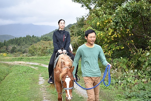 Horse ride experience with beautiful views of Sado around the foot of Mount Osado