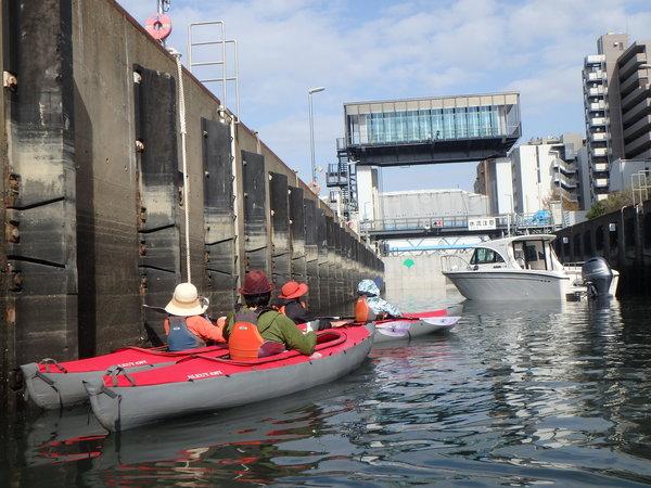 水門をくぐり抜け漕ぎ進む!東京運河ミドルカヌーツアー