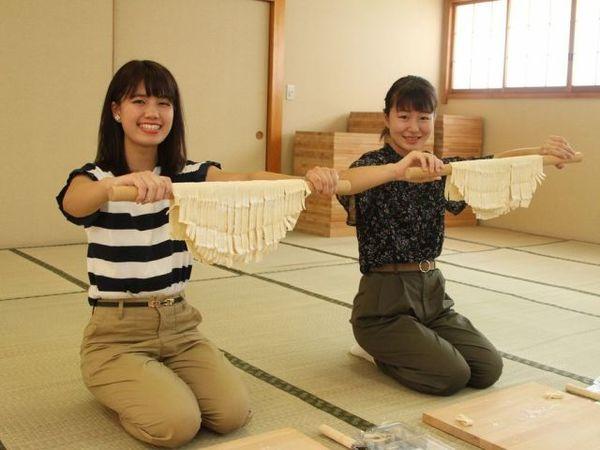 うどん打ち体験  ~手作りうどん+野菜ときのこの天ぷら盛り合わせをその場でいただく~